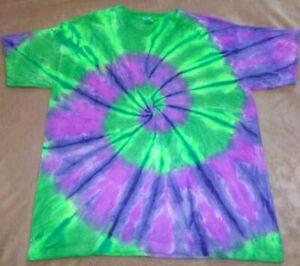 "Mens 100% cotton Tie Dye T-shirt - ""Purple/green spiral"" size Large, new."