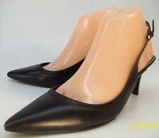 Lauren Ralph Lauren Womens US 7.5M Black Leather Slip-On Slingbacks Heels Pumps