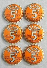 Lot of 6 Vintage HIRES ROOT BEER 5¢ BOTTLE CAPS UNUSED UNCRIMPED CORK LINING
