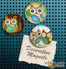Woodland Owl Magnets, Set of 3 Handmade Fridge Magnets, Hoot Owls Gift set