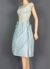 SIZE SMALL AUTHENTIC 1950'S SOFT BLUE FULL SKIRT EYELET BODICE VINTAGE DRESS