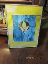 SMALL UNFRAMED STAINED GLASS WINDOW VIBRANT COLORS