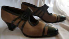 Vintage 1920s Black Leather & Tan Suede Shoes Heels Size 6