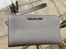 8266718f544af9 Michael Kors Jet Set Travel Double Zip Wristlet Leather Wallet Pearl Grey