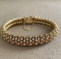 Vintage Ciner Gold Tone & Clear Rhinestone Bracelet w/ Safety Chain