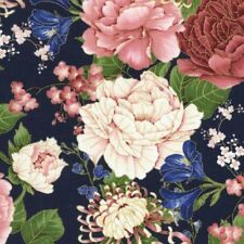 Sakura Floral Navy Gold Metallic Highlights Cotton Quilting Fabric 1/2 YARD