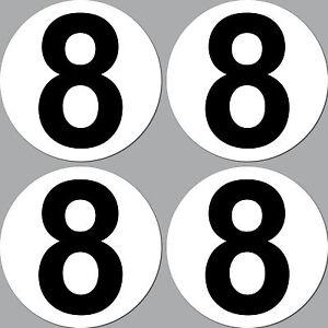 4 Aufkleber 10cm Start Nummer 8 Ziffer Zahl Auto Motorrad Rennsport Kart Gokart