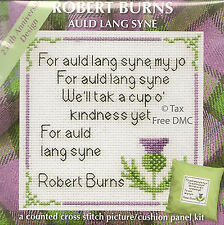 VAT Free Robert Burns Cross Stitch Picture Cushion Panel Auld Lang Syne New 12cm