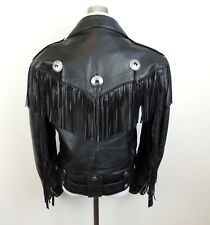 FIRST Brand 40  Fringe Motorcycle Jacket Genuine Thick Leather Moto Biker Flaw
