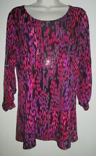 SUSAN GRAVER Sparkle TUNIC TOP S Gathered Sleeves SMALL Shirt MICRODOTS SHINE