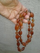 "VTG Antique Baltic Amber Necklace 31"" 124 grams 4 oz large beads Silver Toggle"