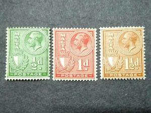 1926 Malta King George V & Coat Of Arms Loose Set Up To 1 1/2d - 3v MLH