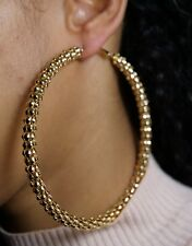 Hop Gold Circle Hoops Chunky Creole Extra Large Thick Chain Design Earrings Hip