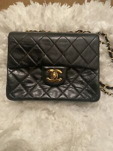 CHANEL Black Leather Square Mini Classic Flap Gold CC Crossbody Bag - Authentic