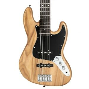 Jazz Style 5 String  Electric Bass Full Size Guitar Natural