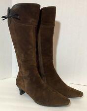 Ecco Brown Soft Leather Boots Mid-Calf Women's 7 7.5 EU 38 Heel Zipper