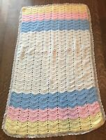 Afghan Handmade Crochet Baby Blanket Lap Pink Blue White Yellow Lace Granny