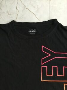 Hurley Spell Out Rainbow Colors Youth Shirt Large (12-13) Black Short Sleeve