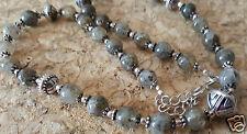 "Black Spotted Quartz Gemstone Silver Beaded Tribal Necklace 18"" Crystal"