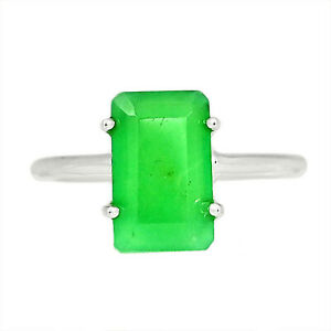 AAA Faceted Chrysoprase 925 Sterling Silver Ring Jewelry s.6.5 ALLR-2149