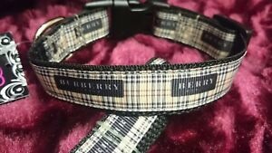 "Dog Collar 15"" - 22"" neck size.  FREE FABRIC DESIGN made in England"