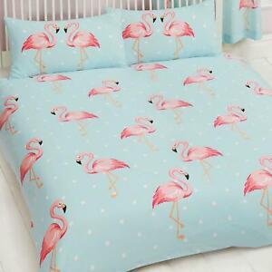 Fifi Flamingo Doppel Bettbezug Set Bettwäsche Gepunktet Rosa Blau