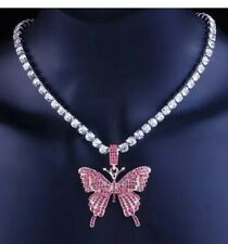 Sparkling Butterfly Necklace Crystal Iced Out Silver And Pink