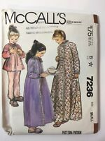 McCall's 7236 Size Small 6-8 Girls' Robe Nightgown Pajamas