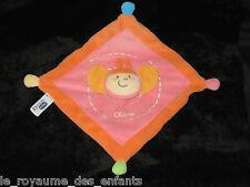 Doudou carré plat Abeille Papillon rose orange jaune Chicco