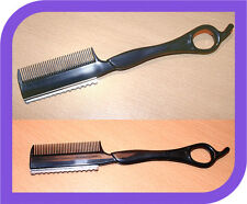 HAIR CUTTING SHAPING RAZOR, Hairdressing STYLING Razors - black with comb H8