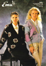 Knitting Pattern - Emu 1366- Teen/Lady's Mohair V Neck Patterned Cardigan 28-38""