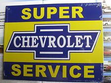 CHEVROLET Super Service Metall Schild in Folie Werkstatthinweis Service + Heft