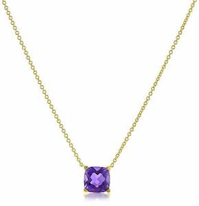 """Rose Gold Plated Fine Sterling Silver .925 Genuine Amethyst Cushion 18"""" Necklace"""