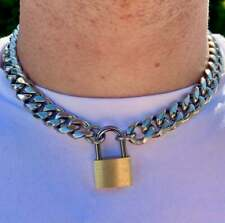 Thick Padlock Choker Thick  Silver Cuban Necklace Chain Pendant Mens Womens