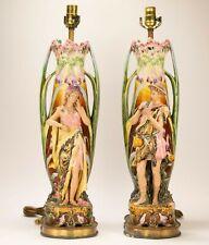 Pair Of Large Vintage Porcelain Majolica Man & Woman Floral Lamps