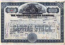 Wisconsin Edison Company Stock Certificate Gray