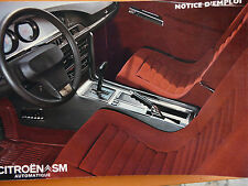 Notice d'utilisation - Citroën SM AUTOMATIQUE