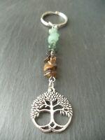 Tree of Life Gemstone Keyring Bag Car Charm Crystals Abundance Healing Gift