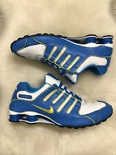 Nike Shox NZ Men's Size 15 Blue White Yellow Leather Running Sneakers