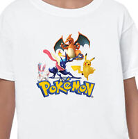 Pokemon Pikachu Kids T-Shirt Printed Children's Birthday Gift Boys Top Tee V1