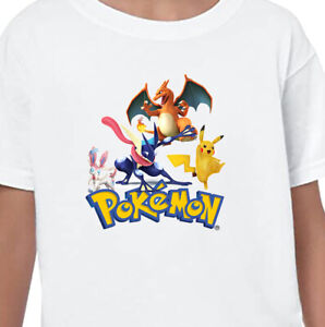 Pokemon Pikachu Kids T-Shirt Printed Children's Birthday Gift Boys Top Tee V1