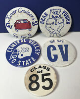5 Vintage 80's Central Valley High School Button Pins Pinback Spokane Valley WA