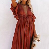 S New Bohemian Long Red Gauze Maxi Summer Beach Dress Vtg 70s In Womens SMALL