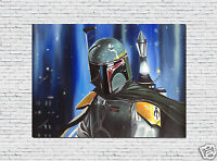 Star Wars Oil Painting HandPainted Art Boba Fett Portrait Canvas Not Print 30x40