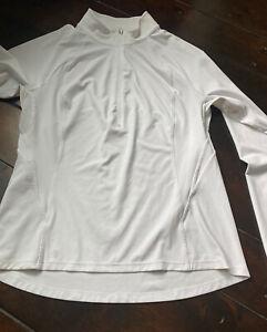 Athleta Women's Size Large 1/4 Zipper Shirt White