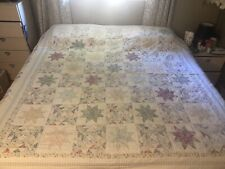 Vintage Quilt Size Queen Flower Star Motive Pink Blues