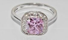 STERLING SILVER (925) PINK TOPAZ & ZIRCON LARGE COCKTAIL RING size N
