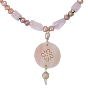 Offerings Sajen Pink Pearls and Rose Quartz Necklace with Shell Charm