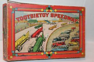 NICE VINTAGE TOOTSIETOY SPEEDWAY BLUEBIRD RACER SET #1 thru #8 w/ TRACK and BOX