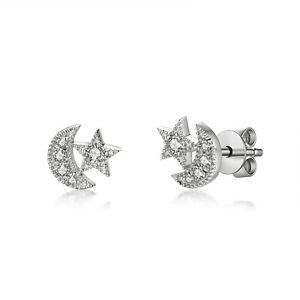Solid 14K White Gold Real Diamond Moon Star Tiny Stud Earrings Jewelry 0.18CT